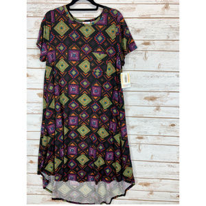 LuLaRoe Carly Dress Large Black Tribal Print NWT